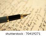 fountain pen on old letter | Shutterstock . vector #70419271