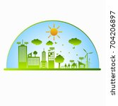 green ecology city... | Shutterstock .eps vector #704206897