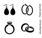 earrings and rings vector icons | Shutterstock .eps vector #704210749