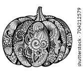 pumpkin with zentangle pattern