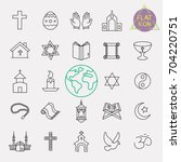religion line icon set | Shutterstock .eps vector #704220751