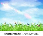 grass with flower and butterfly ... | Shutterstock .eps vector #704224981