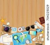 tropical travel object set on... | Shutterstock .eps vector #704225029