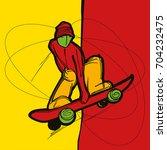 indie grab skater | Shutterstock .eps vector #704232475