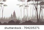 misty dark forest illustration... | Shutterstock .eps vector #704235271