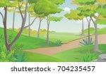 pathway in beautiful green park ... | Shutterstock .eps vector #704235457