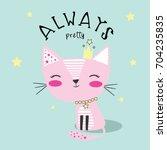cute cat illustration vector... | Shutterstock .eps vector #704235835