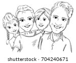 vector   4 persone happy famlly ... | Shutterstock .eps vector #704240671