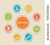 success. concept with icons and ... | Shutterstock . vector #704250361