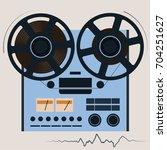 bobbin tape recorder. playing...   Shutterstock .eps vector #704251627