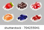 strawberry  blueberry  apricot  ... | Shutterstock .eps vector #704255041