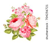 summer flowers bouquet of color ... | Shutterstock .eps vector #704256721
