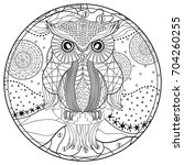 mandala with owl. zentangle.... | Shutterstock . vector #704260255