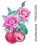 composition watercolor... | Shutterstock . vector #704261341