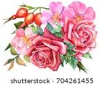 flora card  watercolor... | Shutterstock . vector #704261455