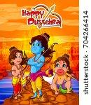 lord rama in happy dussehra... | Shutterstock .eps vector #704266414