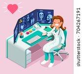 doctor at hospital computer... | Shutterstock . vector #704267191