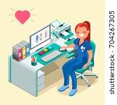 female doctor or nurse cartoon... | Shutterstock . vector #704267305