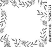 monochrome herbal square frame... | Shutterstock .eps vector #704267821