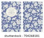 invitation card with flowers on ... | Shutterstock .eps vector #704268181