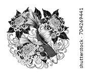 koi fish and chrysanthemum... | Shutterstock .eps vector #704269441