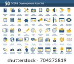 set of seo and development... | Shutterstock .eps vector #704272819