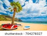 las teresitas beach in tenerife ... | Shutterstock . vector #704278327