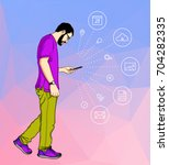 casual cartoon man looking and  ... | Shutterstock .eps vector #704282335