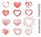 a set of hearts painted with... | Shutterstock .eps vector #704284531