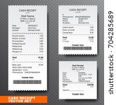 set paper check  reciept and... | Shutterstock .eps vector #704285689