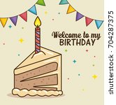 happy birthday cake design | Shutterstock .eps vector #704287375