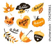 love autumn label sticker...   Shutterstock .eps vector #704290861