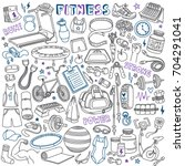 fitness doodles set. sport...   Shutterstock .eps vector #704291041
