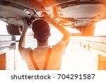 rear view of automobile... | Shutterstock . vector #704291587