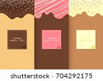 flowing ice cream on wafer... | Shutterstock .eps vector #704292175