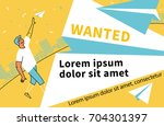 wanted. man launches paper... | Shutterstock .eps vector #704301397