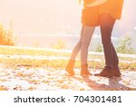 low section of couple standing... | Shutterstock . vector #704301481
