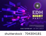 electronic dj music night party ... | Shutterstock .eps vector #704304181