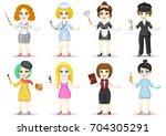 vector set of different female... | Shutterstock .eps vector #704305291