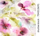 floral background. watercolor... | Shutterstock . vector #704313691