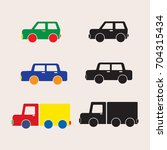 colorful cars and silhouette | Shutterstock .eps vector #704315434
