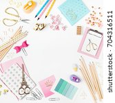 frame with stylish stationery.... | Shutterstock . vector #704316511