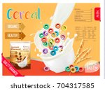 milk flowing into a bowl with...   Shutterstock .eps vector #704317585