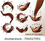 big set of splash of chocolate... | Shutterstock .eps vector #704317591