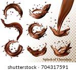 big set of splash of chocolate... | Shutterstock .eps vector #704317591