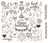 birthday party doodles and love ... | Shutterstock .eps vector #704323981