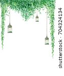 Watercolor greenery border with hanging lanterns isolated on white background. Wedding invitation template with a place for your text. Card design in rustic style.