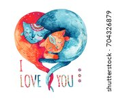 watercolor pair of lovely cats... | Shutterstock . vector #704326879