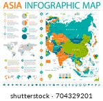 asia map   detailed info... | Shutterstock .eps vector #704329201