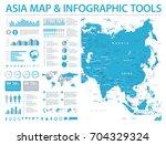 asia map   detailed info... | Shutterstock .eps vector #704329324
